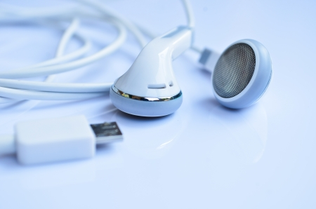white Headphones, concept of digital music Stock Photo - 18986012