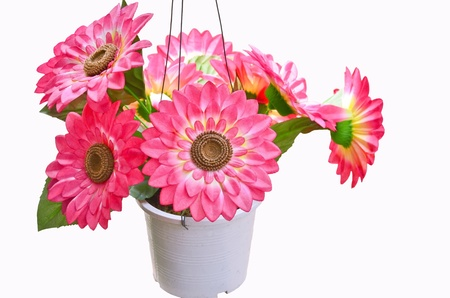 Artificial flowers pots photo