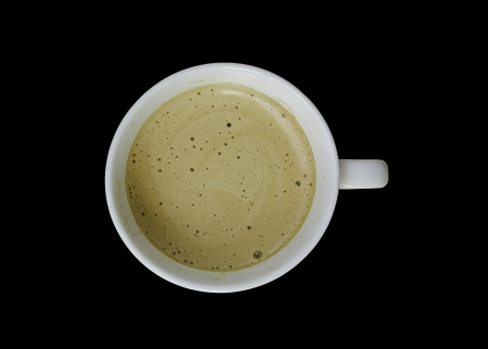 Top view of a cup of coffee, isolate on black Stock Photo - 20931427