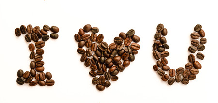 I love coffee concept using coffee bean isolated on white photo