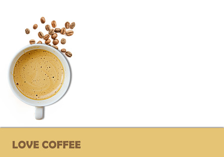 short phrase: I love coffee isolated on white background