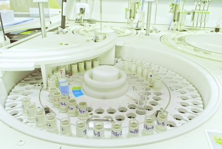 chromatograph: Laboratory medical chromatograph with glass auto sample bottles
