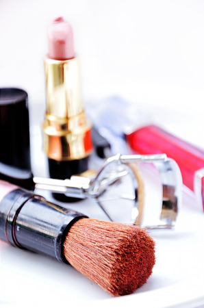 Cosmetics makeup brush Stock Photo