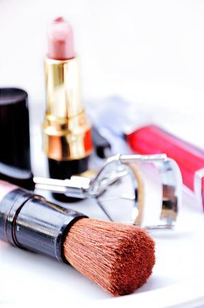 Cosmetics makeup brush Stock Photo