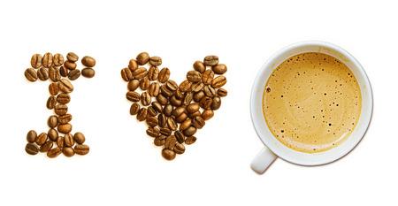 Ik hou van koffie geà ¯ soleerd op witte achtergrond Stockfoto
