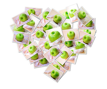 Abstract photo of Green apple diet concept putting together a heart shape photo