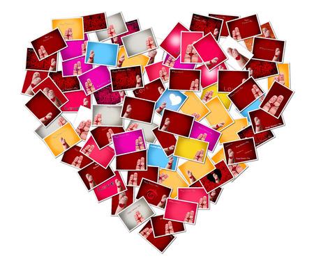 collage caras: Resumen foto Pareja feliz paz y amor tema armar una forma de coraz�n