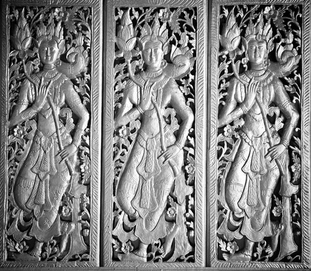 Thai molding art on the wall photo