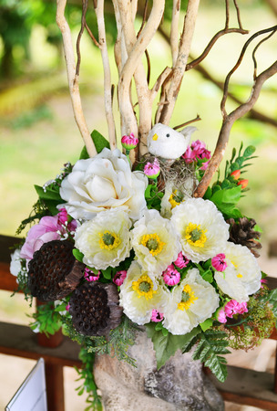 Flower arrangement in vases photo