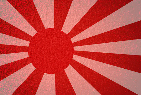 world war two: Rising Sun ensign of Japanese navy in red and white  Stock Photo