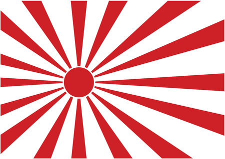 fleet: Rising Sun ensign of Japanese navy in red and white  Illustration