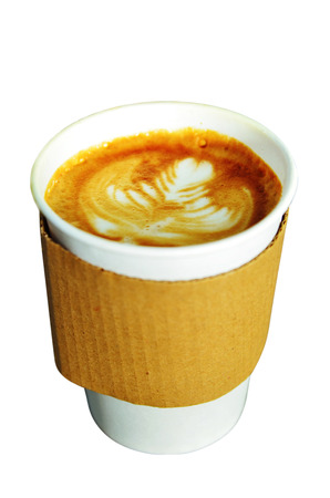 Latte Coffee Cup Isolated Stock Photo