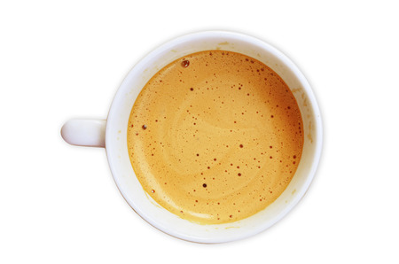 close up of coffee cup on white background photo