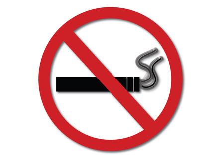 smoldering cigarette: No smoking sign