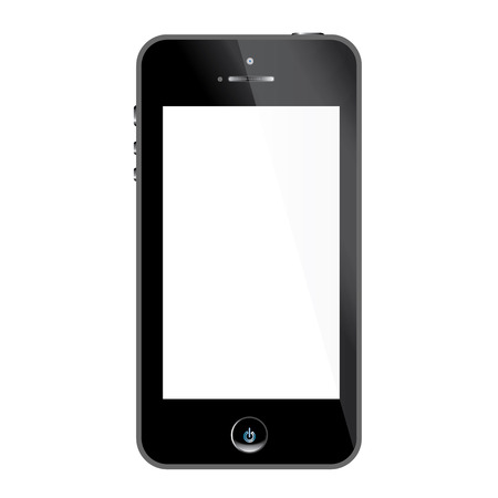 Realistic black mobile phone with blank screen isolated on white, Vector Vector