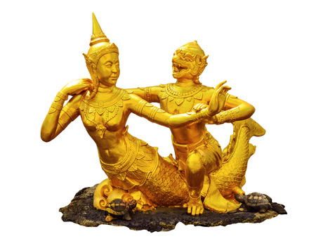 filming point of view: Native Thai style statue