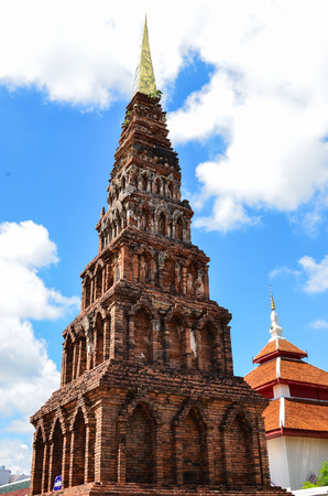 dvaravati: LAMPHUN,THAILAND-Se ptember 27:Wat Phra That Hariphunchai.Constructed around the 13th century A.D.and considered the best examples of Dvaravati period architecture in Lamphun Thailand - September 27, 2014