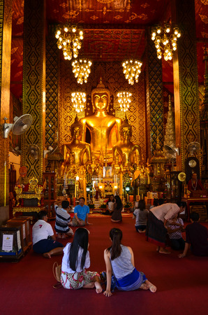 dvaravati: LAMPHUN,THAILAND-Se ptember 27:Wat Phra That Hariphunchai.Constr ucted around the 13th century in Lamphun Thailand - September 27, 2014 Editorial