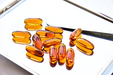 lecithin: Lecithin gel vitamin supplement capsules Stock Photo