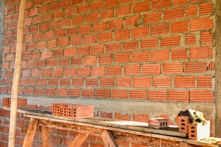 stone mason: Tool for laying and wall bricks. Stock Photo