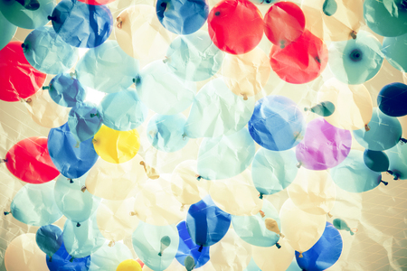 vibrant colors fun: Vintage Colorful balloons with happy celebration