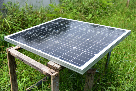 solarenergy: Solar Power Green energy with solar panels outdoor Stock Photo