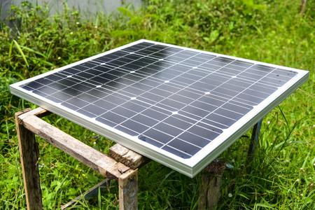 Solar Power Green energy with solar panels outdoor Stock Photo