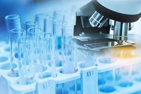 Microscope with lab glassware science laboratory research, Science for Health Care Concept Banco de Imagens