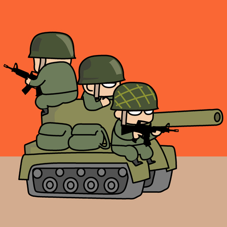 Army and tank concept of soldier cartoon. Vectores