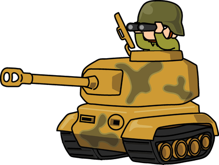 Cartoon army with tiger tank, vector illustration on white background.