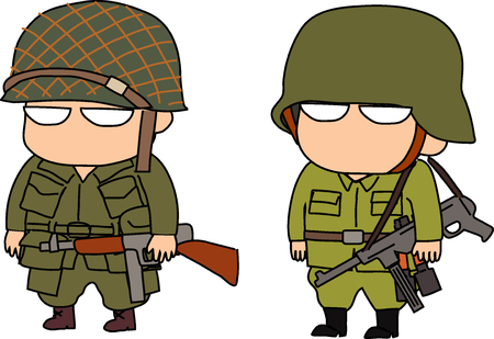 WWII army illustration on white background. Ilustração