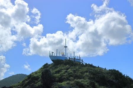 It is a beautiful scenery of Jeju coast.