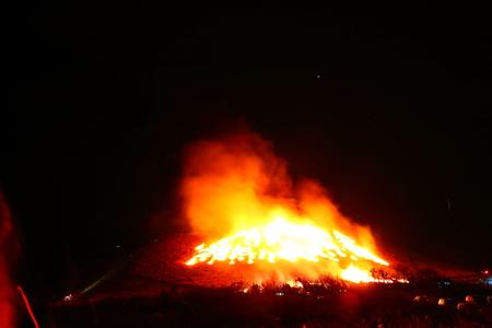 """It is scenery of Jeju """"field fire"""" festival."""