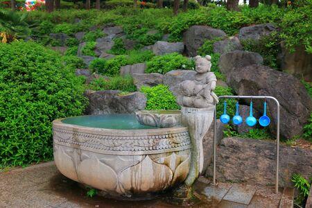 temple fountain in Jeju.