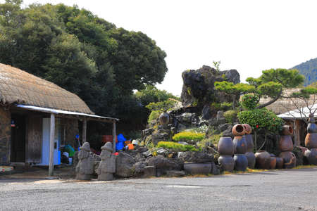 spring scenery of Seongeup Folk Village in Jeju Island.