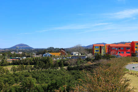 beautiful spring landscape in the rural villages of Jeju. Editorial