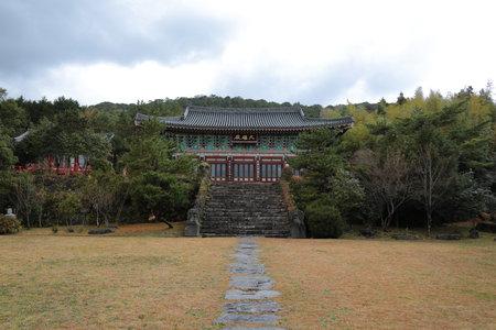 beautiful spring scenery of a Buddhist temple in Jeju Island.
