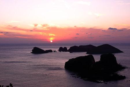 sunset view of Chagwido, a beautiful island in Jeju.