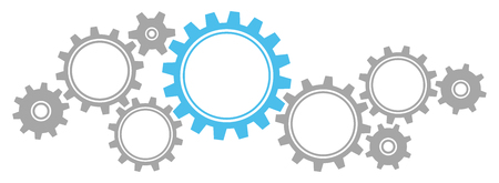 Gears Border Graphics Gray / Blue Illustration