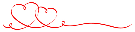 2 Connected Red Calligraphy Hearts Ribbon Banner Çizim