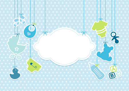 Card Baby Boy Hanging Icons Cloud Stars Pattern Blue