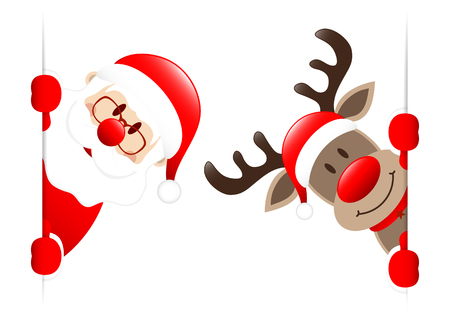 Santa And Rudolph Inside Vertical Banner