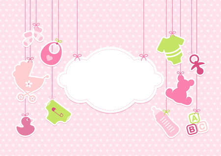Card, Baby Girl, Hanging Icons