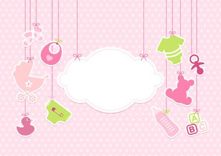 Card, Baby Girl, Hanging Icons Vector Illustratie