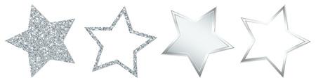 4 Stars Sparkling Shining Silver