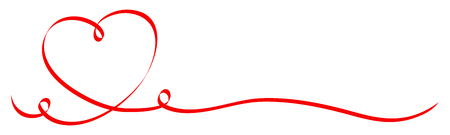 Calligraphy Red Heart With Two Swirls Ribbon Illustration
