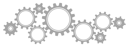 Nine Big And Little Gears Border Graphics Gray Horizontal Illustration