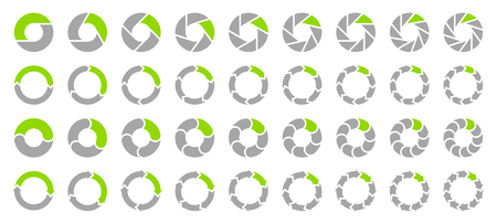 Set Pie Charts Arrows Gray And Green