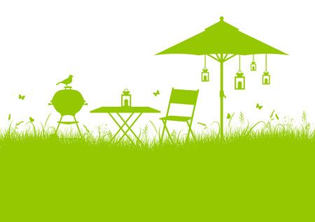Summer Garden Barbecue Meadow Background Green Horizontal Illustration