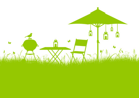 Summer Garden Barbecue Meadow Background Green Horizontal Illustration